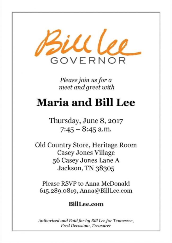 Gubernatorial Candidate Bill Lee will be Jackson TN June 8th