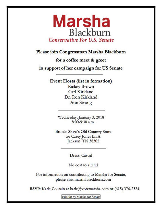 Coffee Meet and Greet with Marsha Blackburn